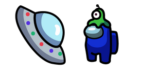 Among Us Character in Brainslug Hat and UFO Cursor