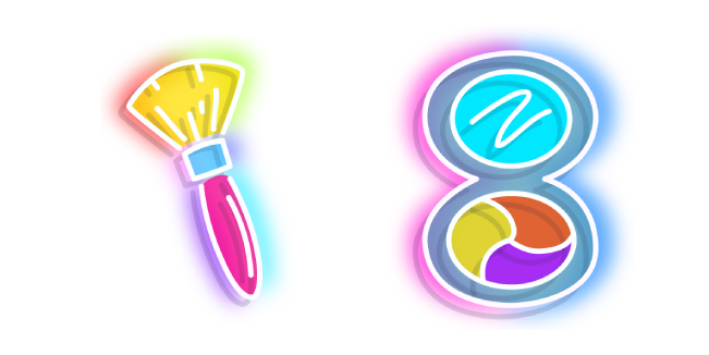 Neon Makeup Brush and Mirror
