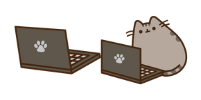 Pusheen with a Laptop Cursor