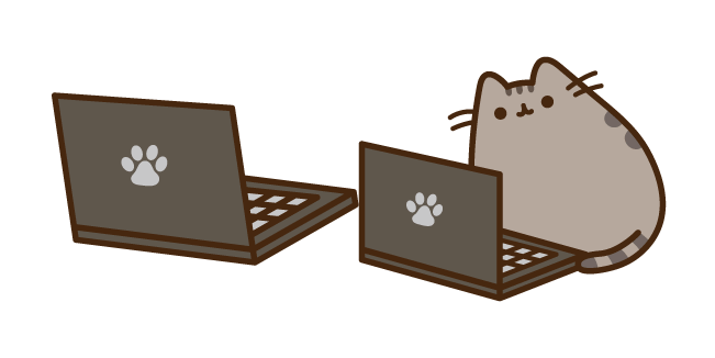 Pusheen with a Laptop