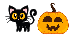 Black Cat and Jack o' Lantern Curseur