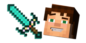 Minecraft Story Mode Jesse and Enchanted Diamond Sword Cursor