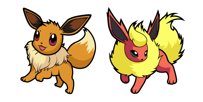 Pokemon Eevee and Flareon
