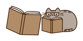 Pusheen with a Book Cursor