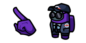 Among Us Purple Character in Security Guard Outfit Cursor