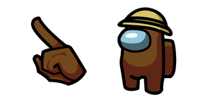 Among Us Brown Character in a Straw Hat Cursor