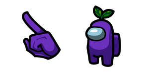 Курсор Among Us Purple Character in Plant Hat