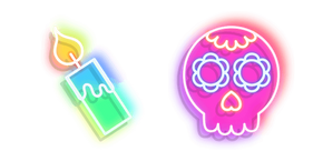 Neon Day of The Dead Skull and Candle