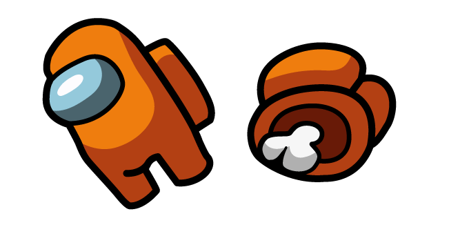 Among Us Orange Character And Dead Body Cursor Custom Cursor Browser Extension