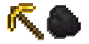 Minecraft Golden Pickaxe and Coal Cursor