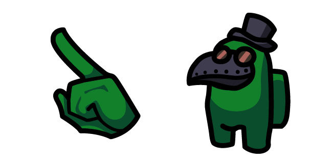 Among Us Green Character in Plague Doctor Mask