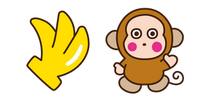 Monkichi and Banana Curseur