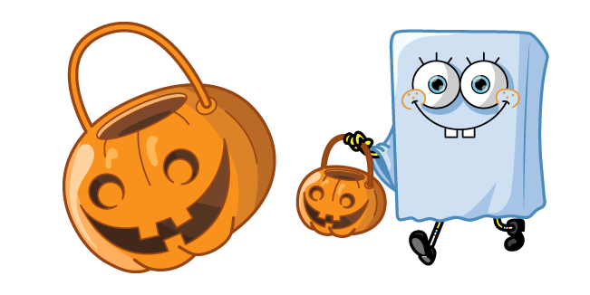 Spongebob Halloween Ghost and Jack-o-Lantern