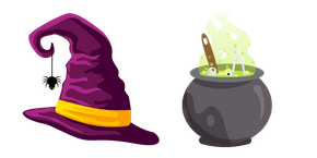 Halloween Cauldron and Witch's Hat