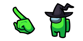 Among Us Lime Character in Witch Hat Cursor