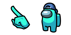 Among Us Cyan Character in Backwards Cap Cursor