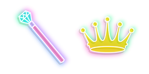 Neon Queen Crown and Scepter Curseur
