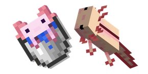 Minecraft Axolotl and Bucket of Axolotl Cursor