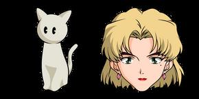 Neon Genesis Evangelion Ritsuko Akagi and Cat Figure Curseur