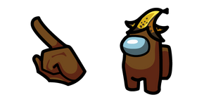 Among Us Brown Character in Banana Hat Cursor