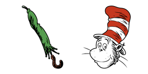 Cat in the Hat and Green Umbrella Curseur