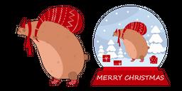 Christmas Snow Globe and Bear Curseur