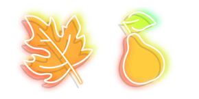 Neon Autumn Leaflet and Pear Cursor