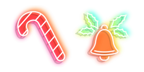 Neon Candy Cane and Bell Cursor