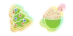 Neon Cup of Cocoa and Cookie Cursor