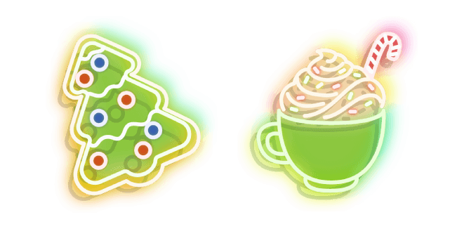 Neon Cup of Cocoa and Cookie