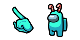 Among Us Cyan Character in Candy Canes Curseur