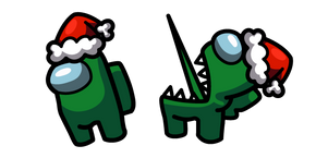 Among Us Green Impostor in Santa Hat Cursor