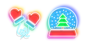 Neon Snow Globe and Mittens Cursor