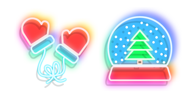 Neon Snow Globe and Mittens