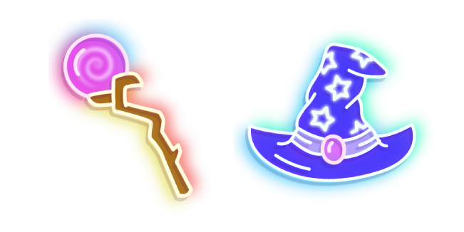 Neon Magic Staff and Wizard Hat