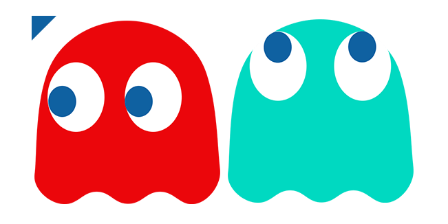 Pacman Blinky and Inky Ghosts