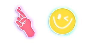 Neon Good Luck Hand Sign and Smile Cursor