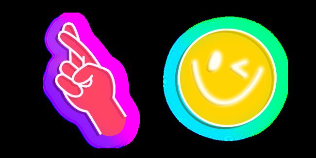 Неоновый Знак Удачи Пальцами и Смайл