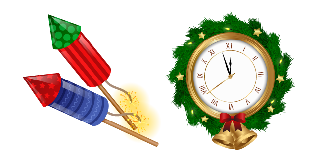New Year Clock and Firework