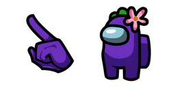 Among Us Purple Character in Flower Hat Cursor
