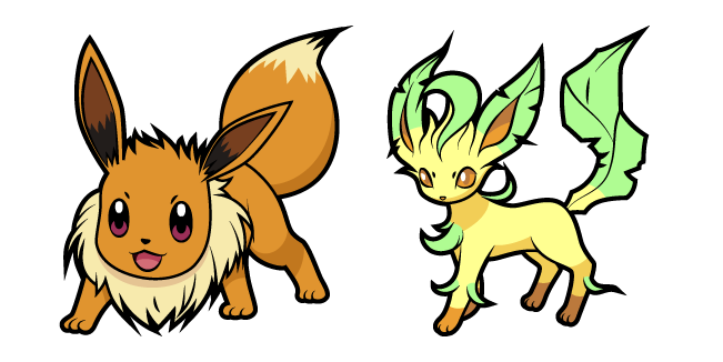 Pokemon Eevee and Leafeon