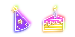 Neon Birthday Cake and Party Hat Curseur