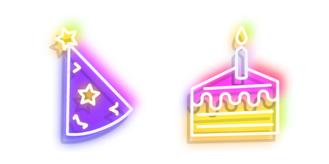 Neon Birthday Cake and Party Hat