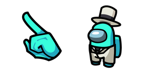 Among Us Cyan Character in White Suit Outfit Cursor