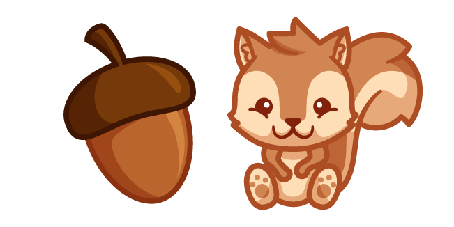 Cute Squirrel and Acorn
