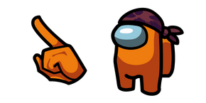 Among Us Orange Character in Do-Rag Hat Cursor
