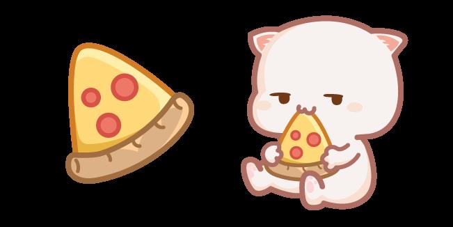 Cute Mochi Mochi Peach Cat and Pizza