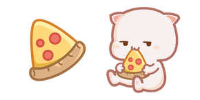Cute Mochi Mochi Peach Cat and Pizza Cursor