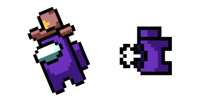 Among Us Pixel Purple Character in Sheriff Hat and Dead Body