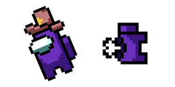 Among Us Pixel Purple Character in Sheriff Hat and Dead Body Cursor